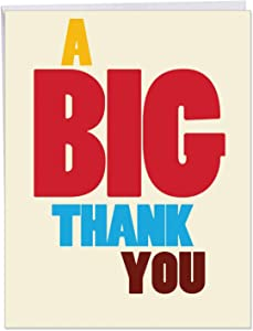 Big Thank You Card with Envelope (Large 8.5 x 11 Inch) - Fun and Colorful Thankful Stationery Notecard - Funny Appreciation Card to Say Thanks for Birthday Party, Baby Shower, Boss J9689