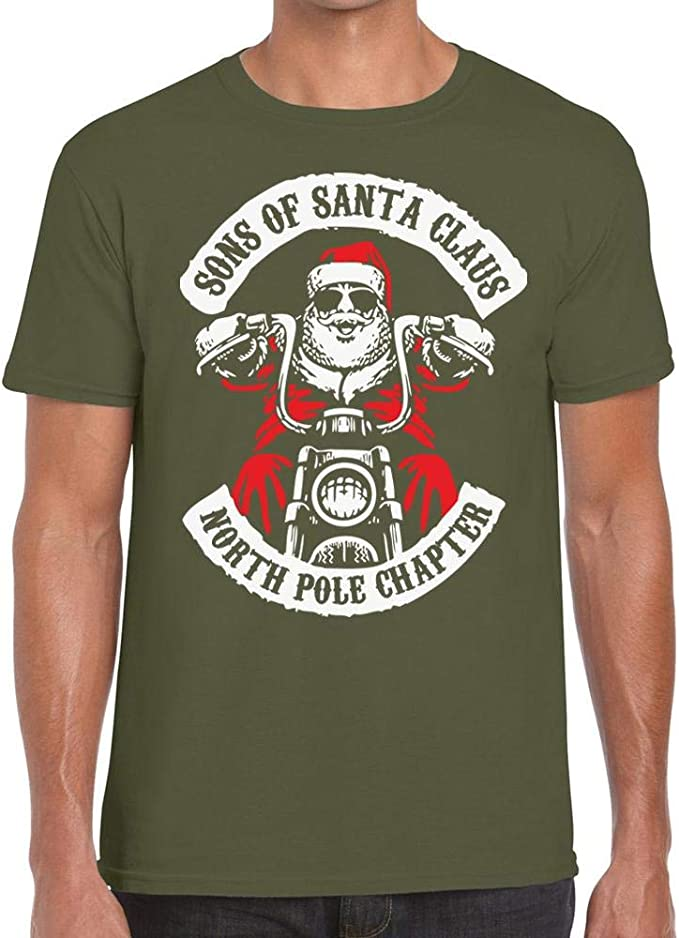 Sons of Santa Claus North Pole Chapter Xmas Funny Biker Christmas T-shirt tops