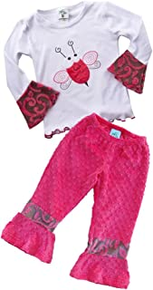 product image for Cheeky Banana Little Girls Doodlebug Applique Tee/Minky Ruffle Pants-Waterm