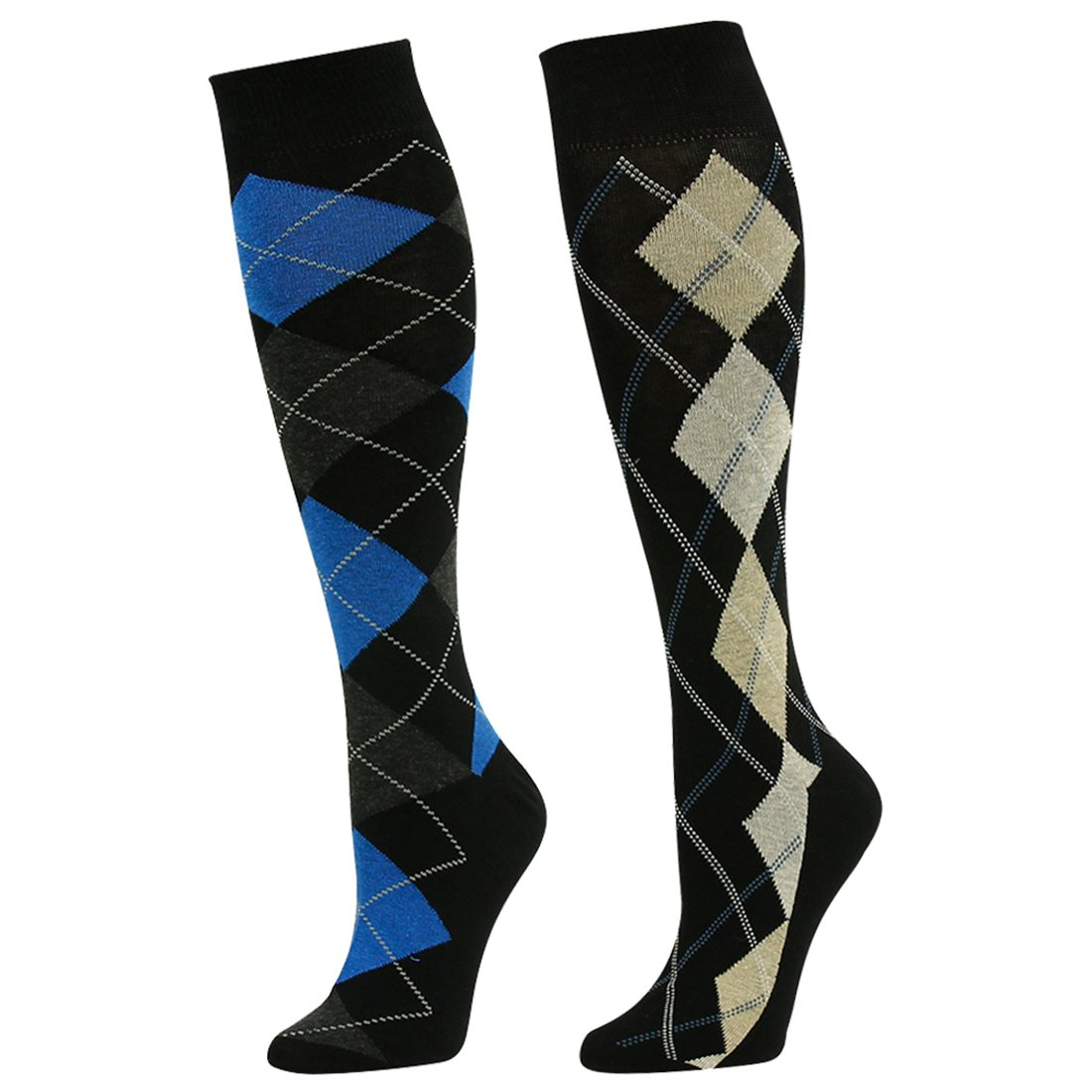08dda981a73 SUTTOS Adult Youth Mens Womens Charged Cotton Flat Knit Blue Yellow Black  Argyle Striped Design Knee High Casual Dress Sock