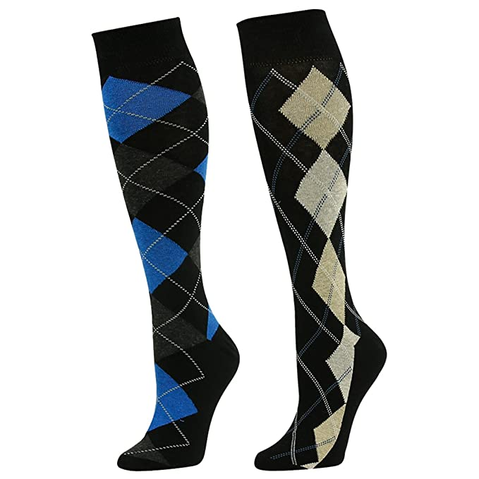 d5268aa4d SUTTOS Adult Youth Mens Womens Charged Cotton Flat Knit Blue Yellow Black  Argyle Striped Design Knee High Casual Dress Sock