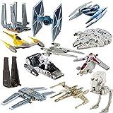 Star Wars (12 Pack) Hot Wheels Spaceship Models Toys Set Figures & Stands Mattel
