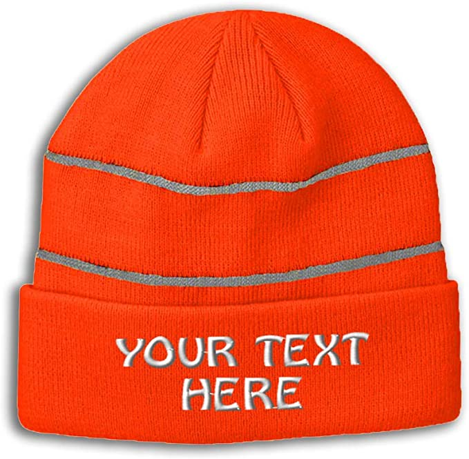 Neon orange with two thin visible reflective gray stripes personalized beanie