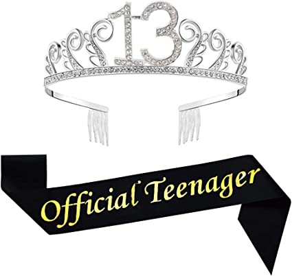 13th Birthday Silver Tiara and Sash Silver Glitter Satin Sash and Crystal Rhinestone Tiara Crown for Happy 13th Birthday Party Supplies Favors Decorations 13th Birthday Party Accessories