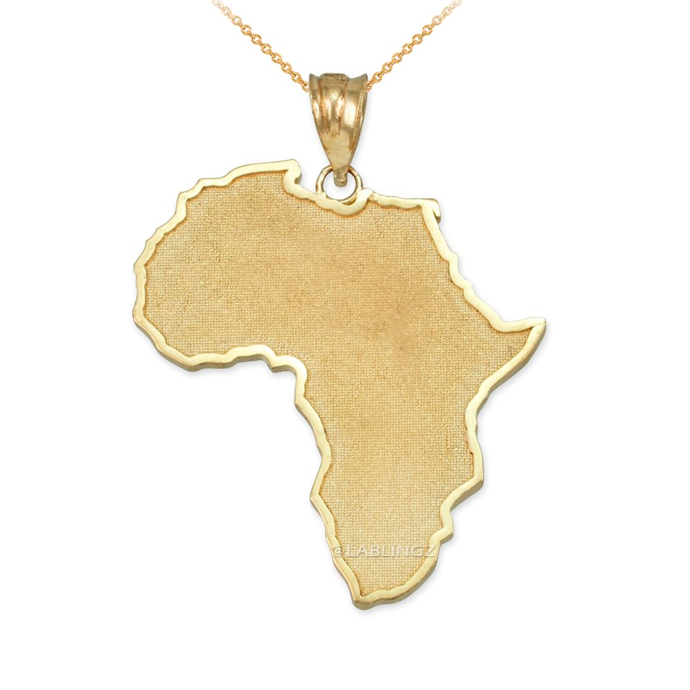 10K Yellow Gold Africa Map Necklace (18)