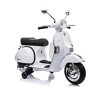 LT887 Moto eléctrica PIAGGIO para niños VESPA PX con ruedas 12V luces led - Blanco: Amazon.es: Juguetes y juegos