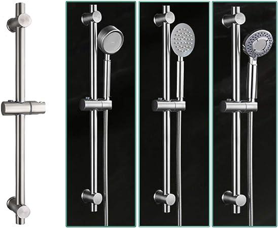 bross/é Barre de douche en acier inoxydable 304 avec supports de fixation r/églables en hauteur et en angle Barre de douche hauteur totale 650 mm