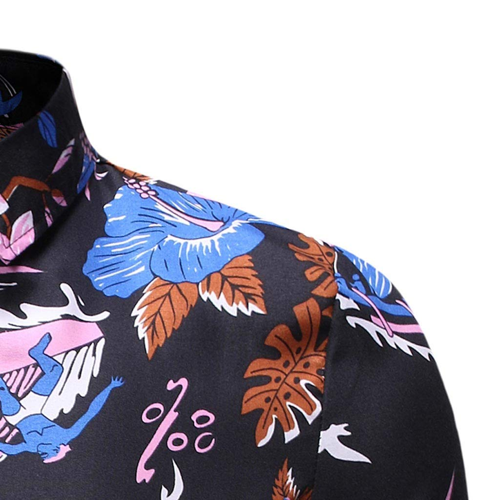 SKYLULU✿Mens Comfy Printed Turn-Down Collar Slim Fit Short Sleeve Colorful Sport Shirts Top Shirt Blouse