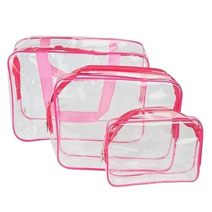 Pixnor 3-en-1 Neceser organizador bolsos claro bolsas de PVC impermeable transparente bolsas cosméticos maquillaje (rosa roja)