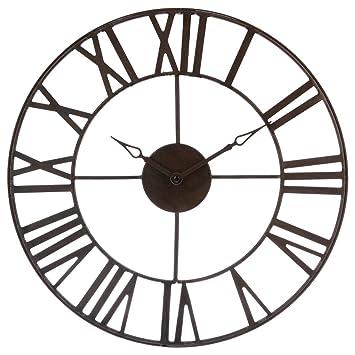 d0f3dc67f6616 Horloge pendule murale en métal style vintage - diamètre 40 cm - Coloris  MARRON effet vieilli