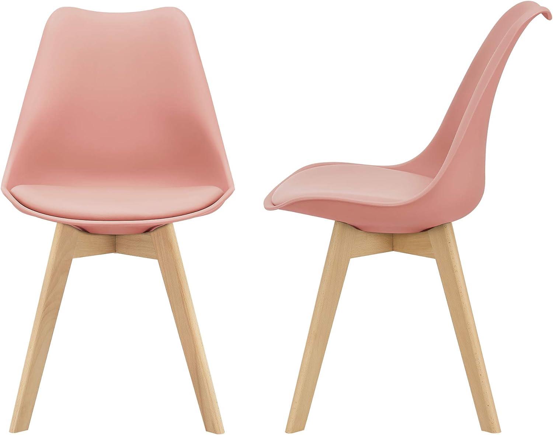 [en.casa] Juego de sillas de Comedor 81 x 49 x 57 cm Silla tapizada en Cuero sintético Patas de Madera de Haya Sillas de Cocina Set de 2 sillas Color Rosa