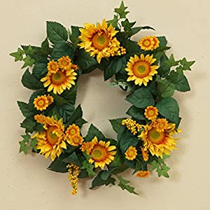 One Holiday Way 22 Inch Yellow Sunflower Wreath with Berries and Greenery - Front Door Wreath Spring Decoration 71