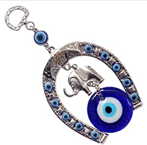 Mose Cafolo Horse Shoe Elephant Turkish Blue Evil Eye (Nazar) Amulet Car Charm Rear View Mirror Wall Hanging Protection Home Decor Blessing Gift