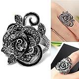 Sumanee Women Retro Rose Flower Ring Black Crystal Vantige Big Flower Rings Jewelry Gift (8)
