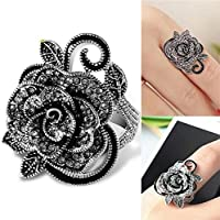 Sumanee Women Retro Rose Flower Ring Black Crystal Vantige Big Flower Rings Jewelry Gift (7)