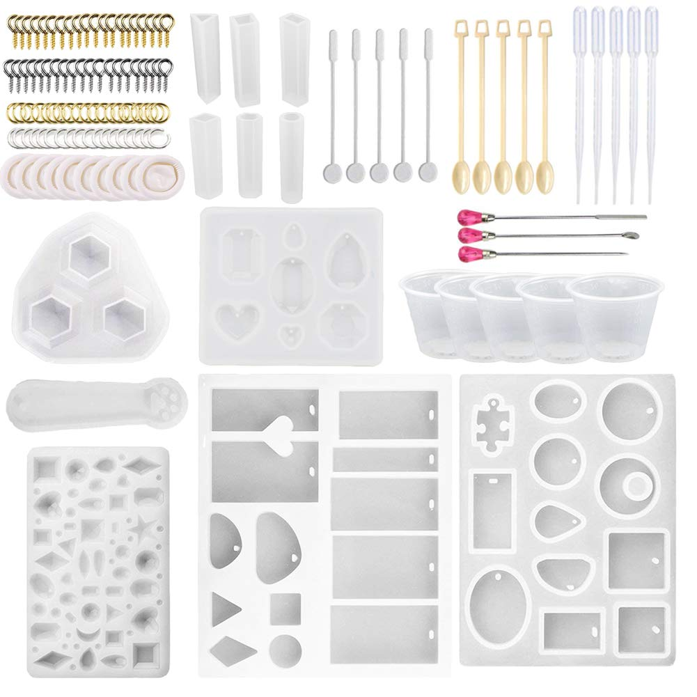Silicone Jewelry Casting Molds, Resin Casting Molds and Tools Set Including Screw Eye Pin, Open Jump Ring, Wood Stirrer, Plastic Spoon, Dropper, Cup and Finger Cots for Resin Jewelry Making (120) shxmlf