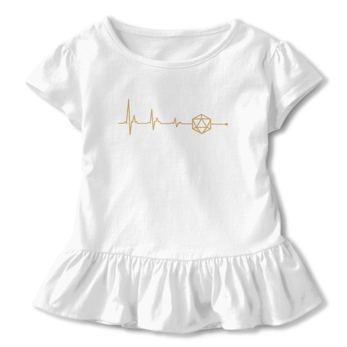 D20 Dice DND Heartbeat Toddler Baby Girl Basic Printed Ruffle Short Sleeve Cotton T Shirts Tops Tee Clothes White
