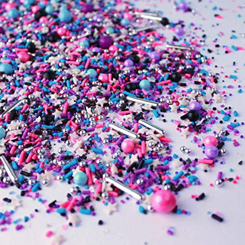 Milky Way Sprinkle Mix | Galaxy | Space | Pink and Purple | Black and Silver Sprinkles, 2oz