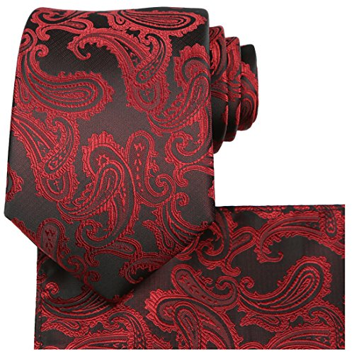 KissTies 63'' Burgundy Red Tie Set Extra Long Necktie Paisley + Pocket Square