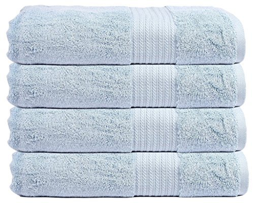 Trident Air Rich Technology premium Cotton 720 GSM 4 Pcs Bath Towels - Sky Blue