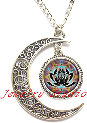 hippie jewelry-HZ00398 Zen meditation Locket Necklace lotus flower jewelry spiritual jewelry Lotus glass Locket Pendant meditation Locket Necklace