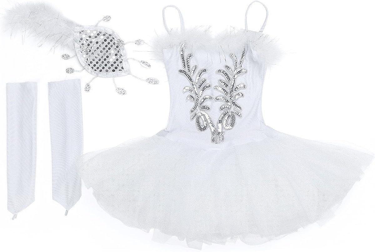 TiaoBug Enfant Fille Justaucorps Danse Classique Ballet Tutu Robe Danse Patinage Gymnastique /à Paillettes Robe Princesse Gants et Pince de Cheveux Costume Carnaval