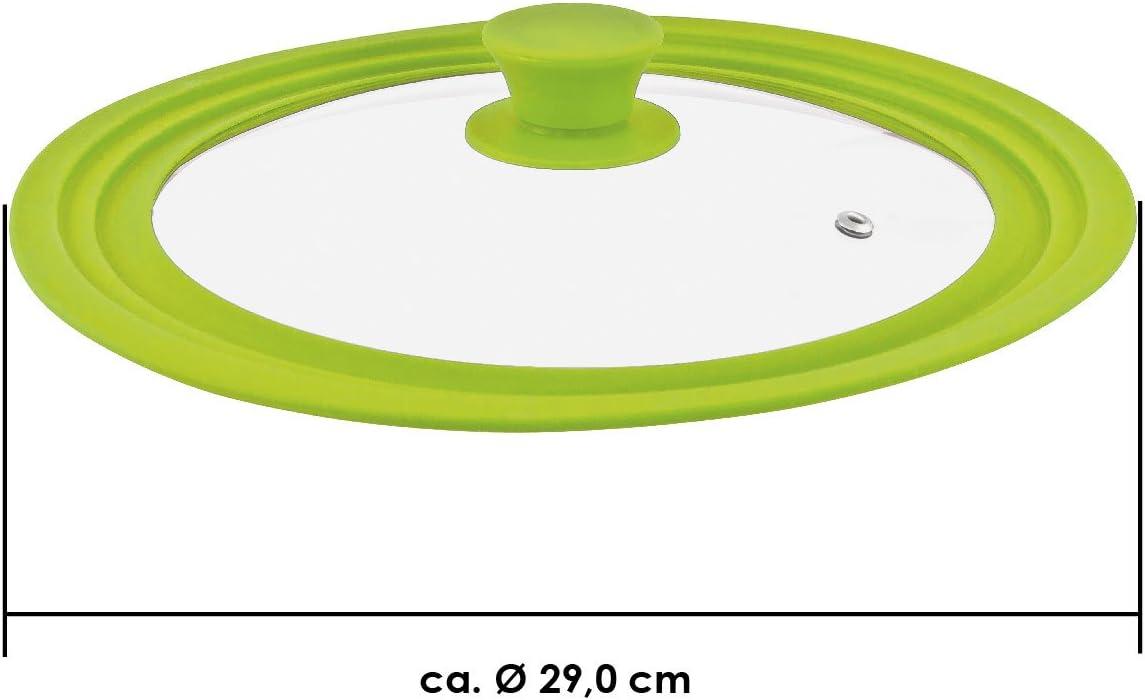 Verde 24//26//28 cm medio Bremermann tapa de cristal universal con borde de silicona