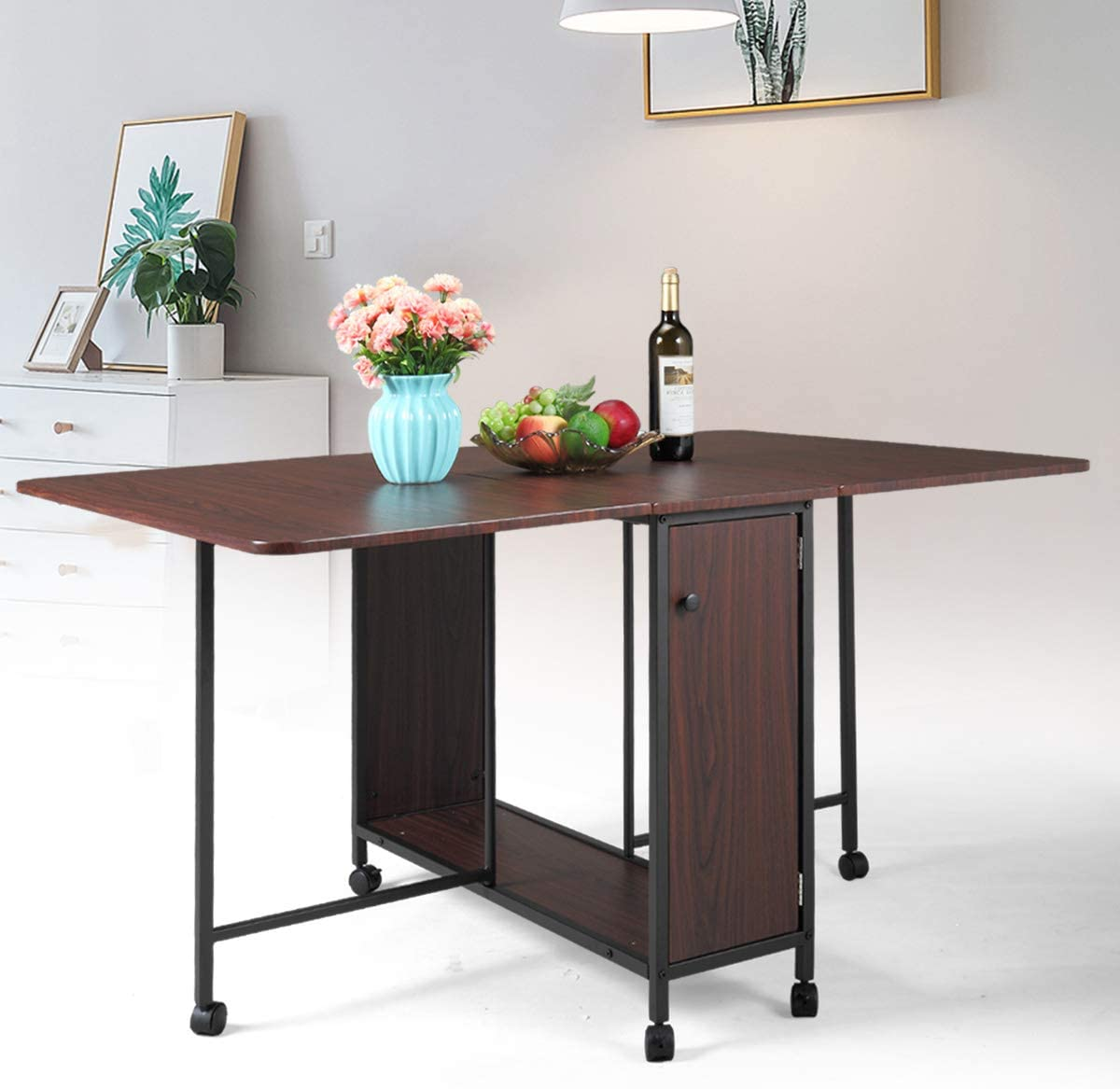JAXPETY Movable Folding Dining Table, Drop Leaf Extendable Versatile Table Space Saving, Expandable Kitchen Table with Large Storage and 6 Wheels