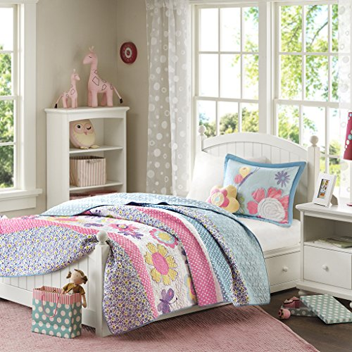 - Mi Zone Kids Crazy Daisy Full/Queen Bedding For Girls Quilt Set - Sky Blue, Pink , Flowers, Butterfly – 4 Piece Kids Girls Quilts – Ultra Soft Microfiber Quilt Sets Coverlet