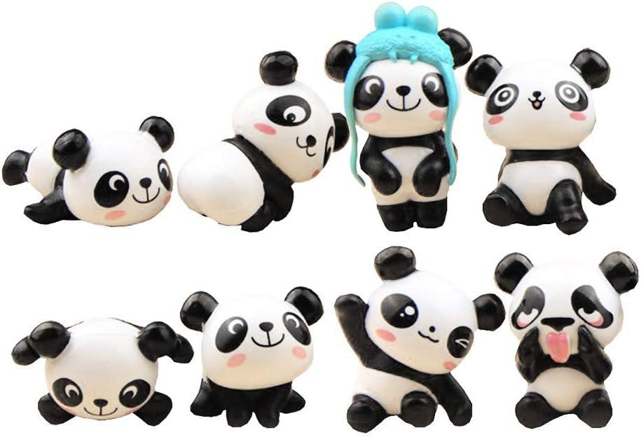 LW 8 Pcs Kawaii Panda Toys Figurines Playset, Cake Toppers, Cake Decoration