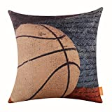 LINKWELL 18'x18' Vintage American Style Basketball Popular Sports in USA with Small Words for Man Cave Burlap Throw Pillow Case Cushion Cover (CC1119)