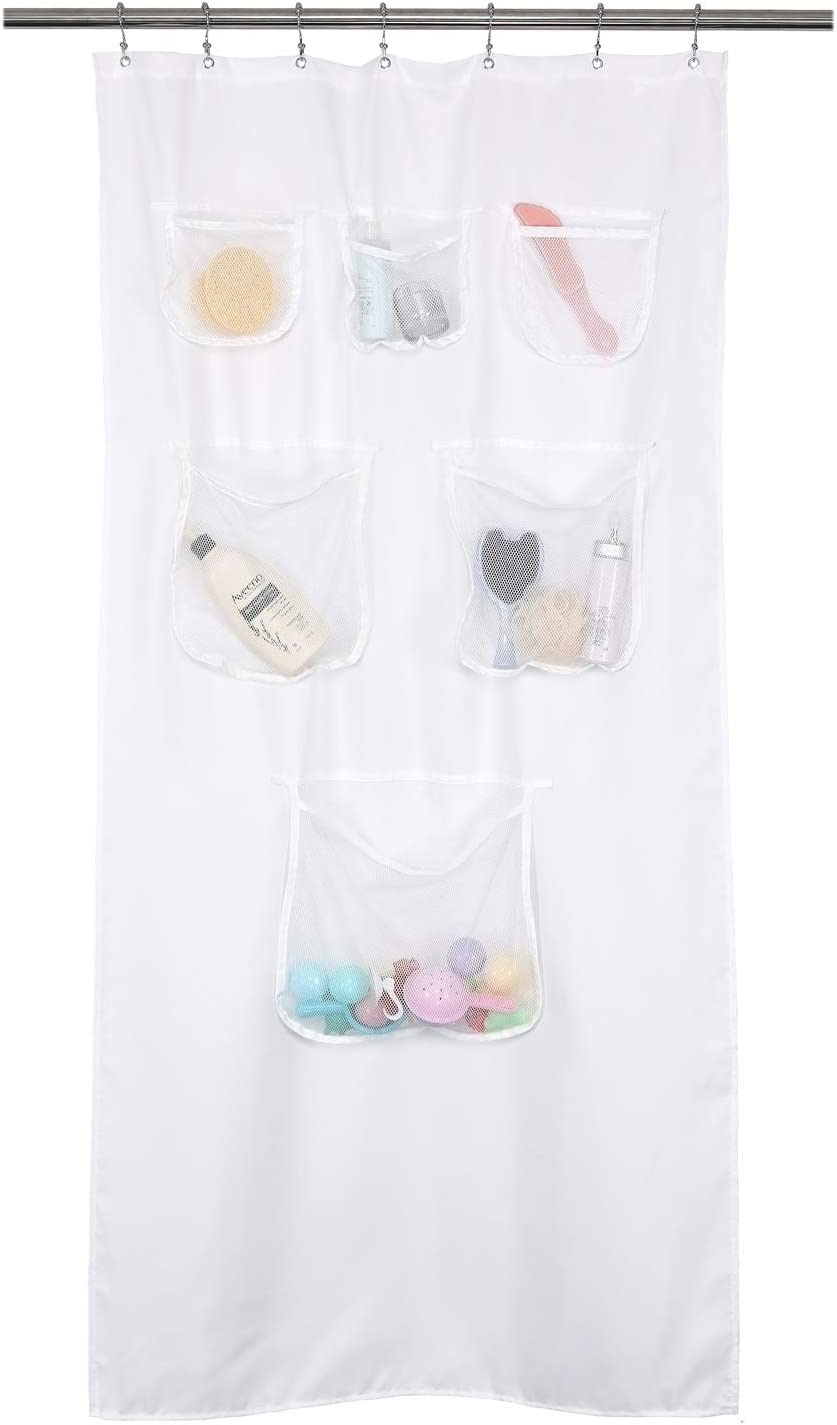 Fabric Stall Shower Curtain or Liner with 6 Mesh Pocket Water R 36 x 72 inch