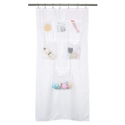 Mrs Awesome Fabric Stall Shower Curtain Or Liner With 6 Mesh Pocket