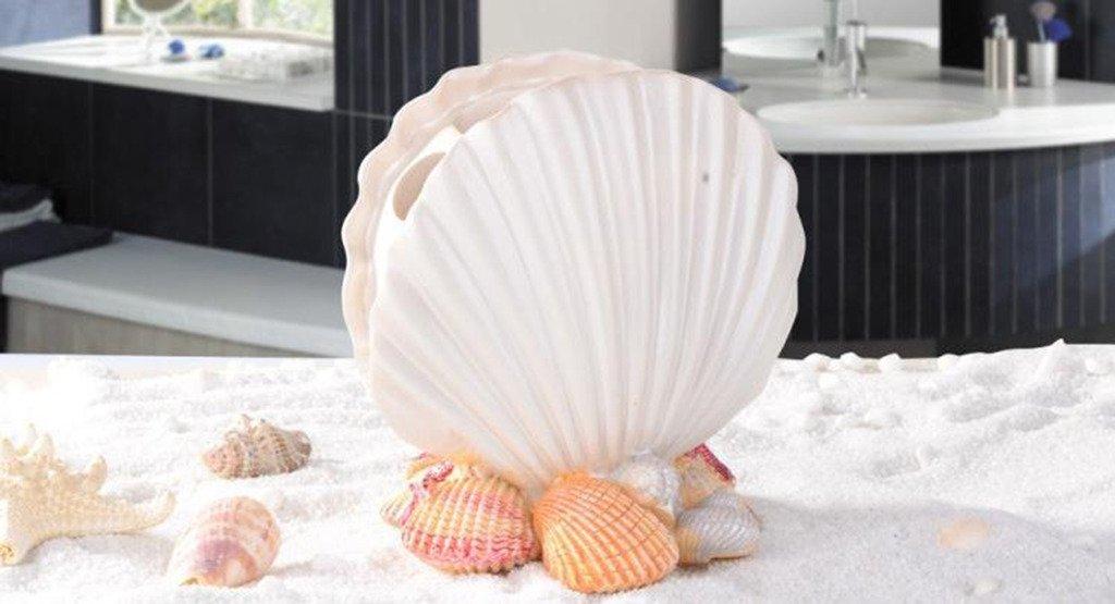 TOWOMO Creative Scallop Form Zahnb/ürstenhalter Mittelmeer Art Badezimmer Dekoration reines Wei/ß