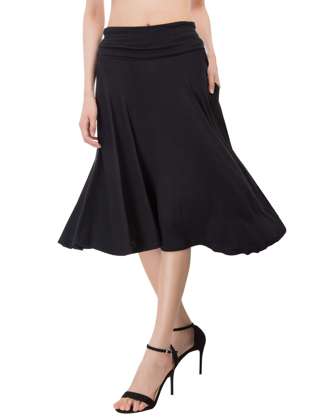 Kate Kasin Women's Comfy Fold Over Waist Cotton Flared Skirt with Side Pockets (S,Black)