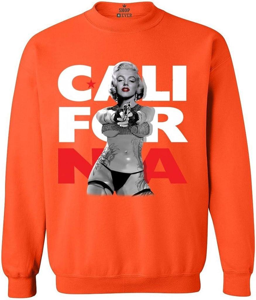 Shop4Ever ® Marilyn Monroe con Pistola Crewnecks California República Sudaderas