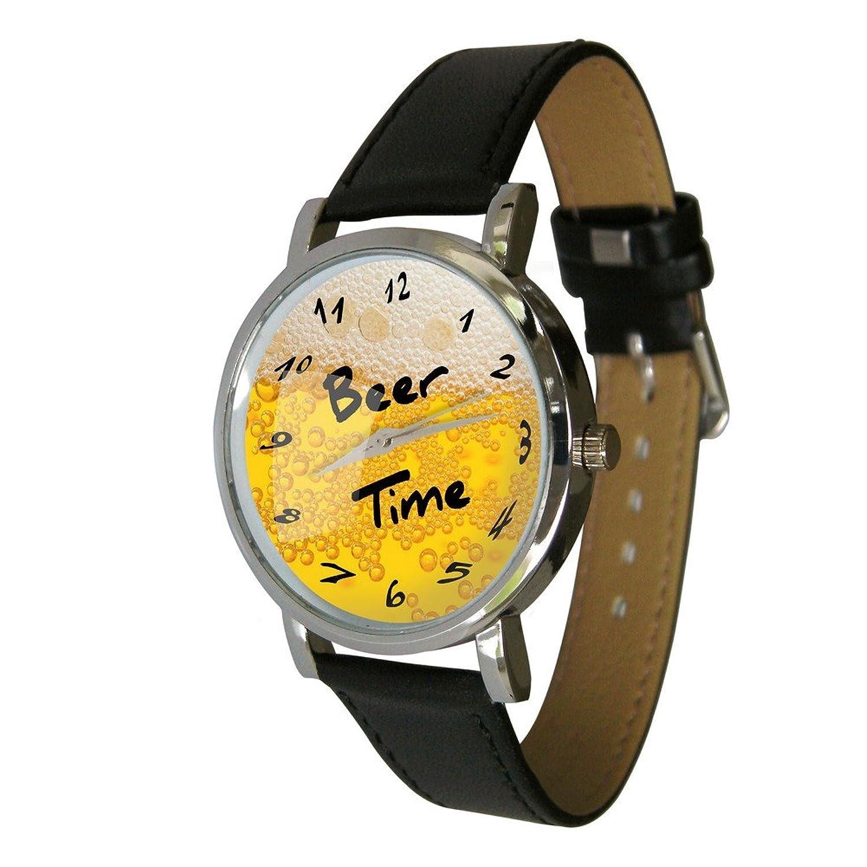 Beer Time Wristwatch - Humor - Gift Watch - Unusual Beer Lovers Gift. Genuine Leather Strap