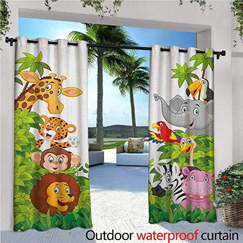 Nursery Exterior/Outside Curtains Cartoon Style Zoo Animals Safari Jungle Mascots Collection Tropical Forest Wildlife for Patio Light Block Heat Out Water Proof Drape W120