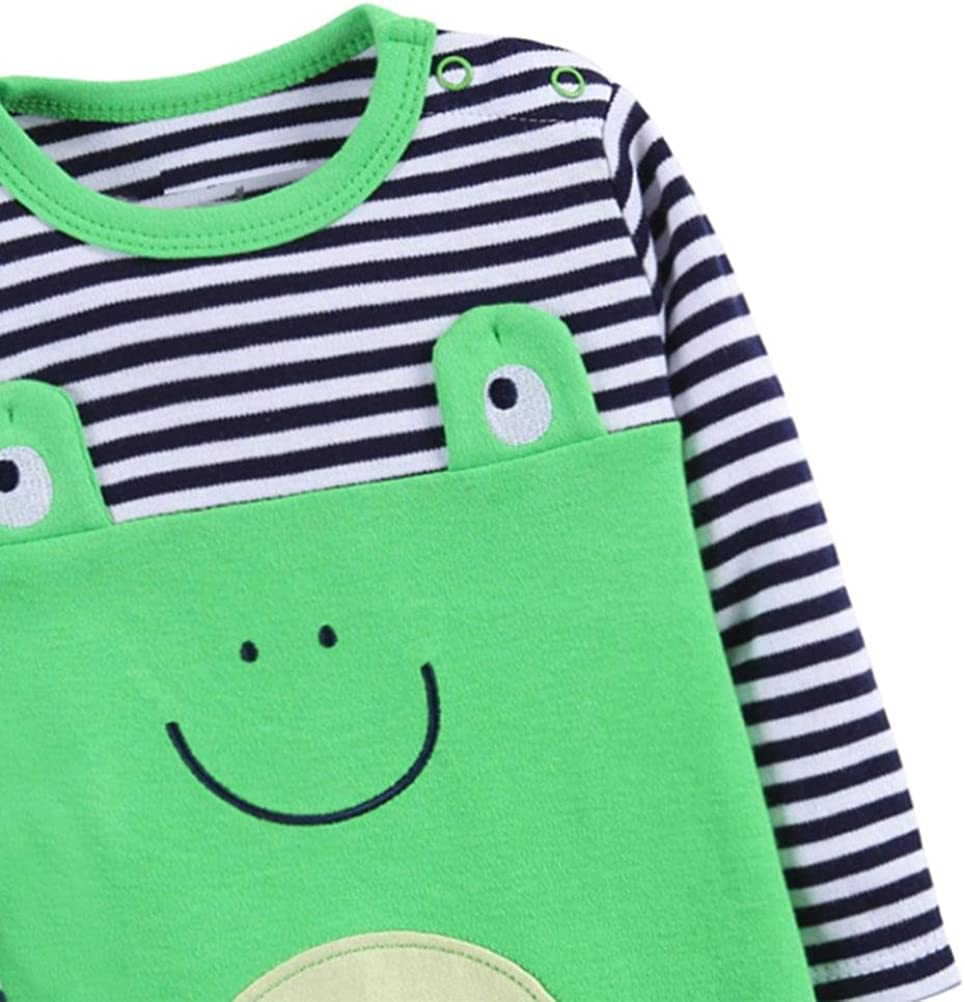 FORESTIME Fashion Toddler Baby Boys Cotton Long Sleeve Cartoon Frog Cosplay Stripe Romper Jumpsuit Outfits