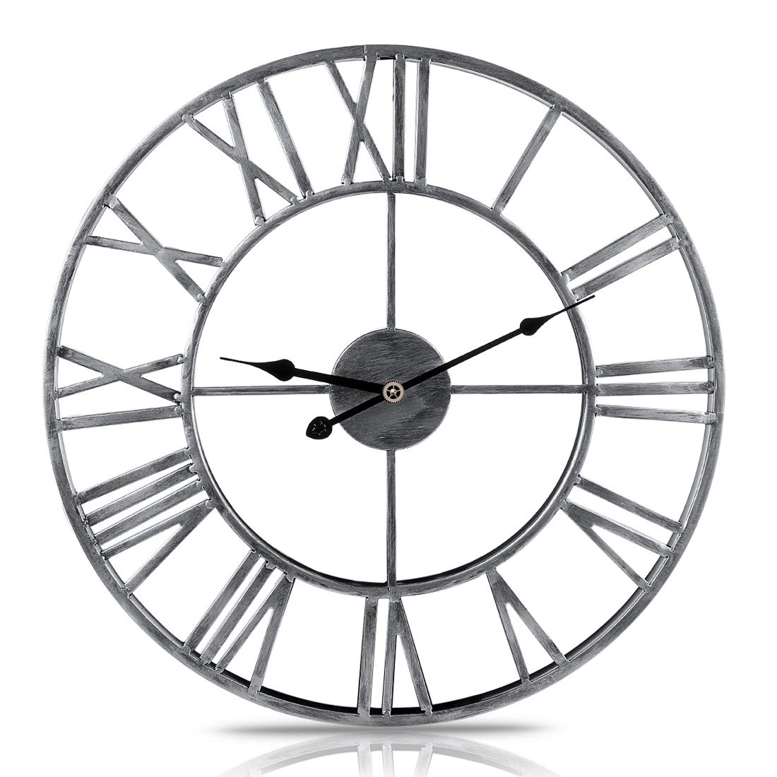 566559a7a03f XSHION Round Wall Clock, 20 Inch Metal Vintage Handmade Retro Roman  Numerals Iron Wall Clocks Large Decorative Wall Clocks for  Office/Kitchen/Bedroom/Living ...