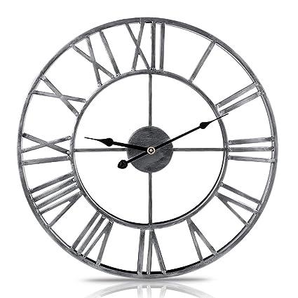 277cd46431e7 XSHION Round Wall Clock, 20 Inch Metal Vintage Handmade Retro Roman  Numerals Iron Wall Clocks
