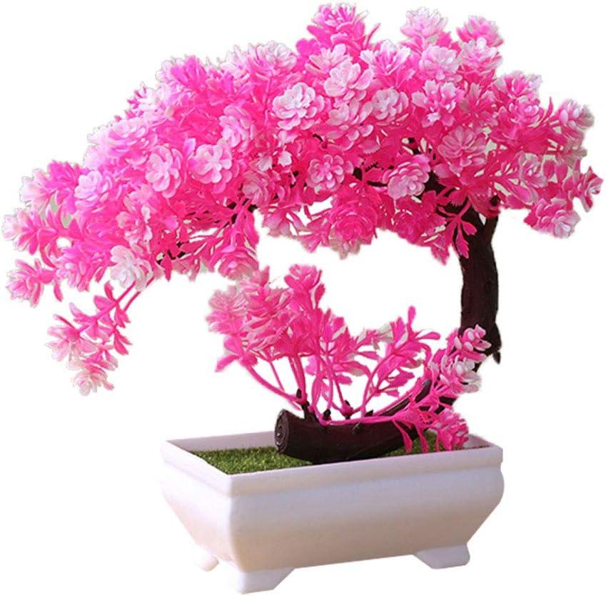 19 * 19cm Bonsai f/ür drinnen und drau/ßen zu Hause Kunstpflanzen Dekoration Plastik Geschenk Garten Rose Artily K/ünstliche Pflanze in Topf-Kunststoff