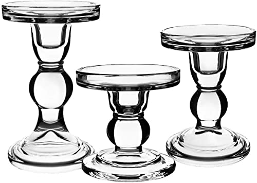 Centanni Essentials Clear Glass Candle Holders Set of 3