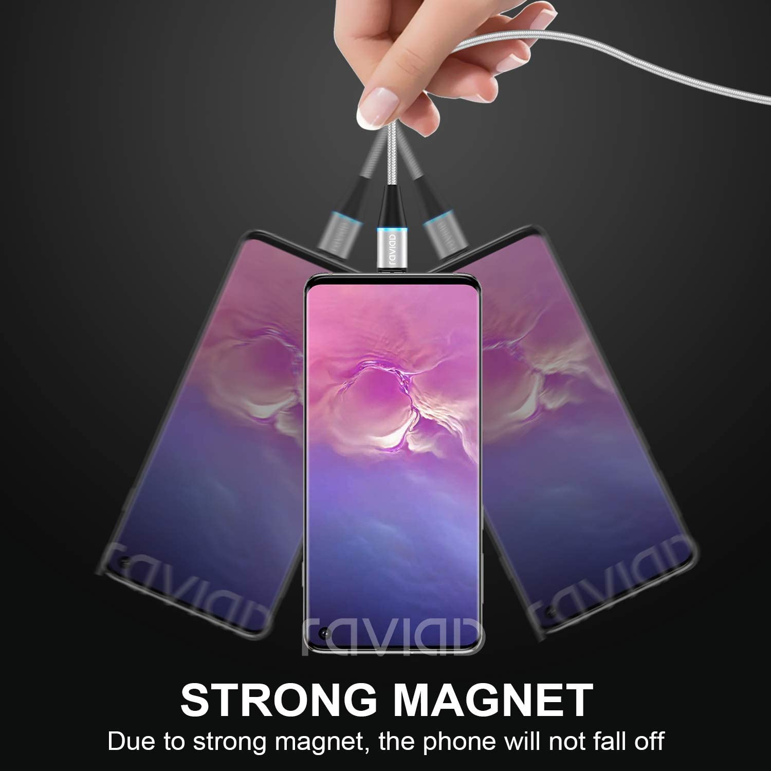 Nylon Magnet USB Kabel Magnetic Datenkabel Fast Charge Sync Schnellladekabel f/ür Micro USB//Type C//Tablets//Phone//Samsung//Huawei//Honor//Xiaomi//Sony//Kindle RAVIAD 3 in 1 Magnetisch Ladekabel