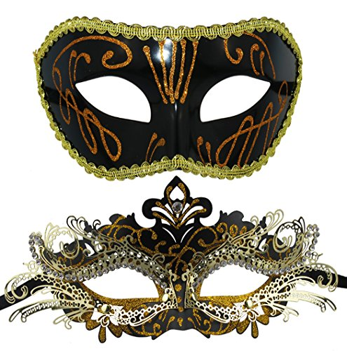 Couple Masquerade Metal Masks Venetian Halloween Costume Mask Mardi Gras Mask -