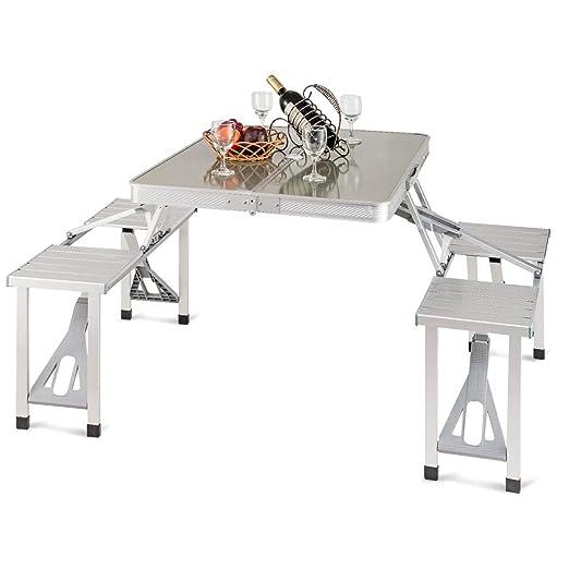 Custpromo - Mesa de Picnic Plegable portátil de Aluminio con ...