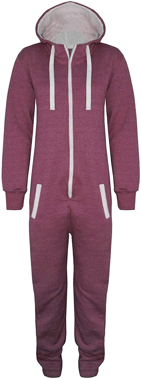 Be Jealous Girls Marl All in One Piece Hoody Boys Onesie Hoodie Kids Jumpsuit