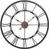 Metal Skeletal Roman Numerals Wall Clock - Large