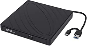 External DVD Drive, USB 3.0 Type C Portable CD Drive Slim DVD/CD ROM Rewriter Burner Writer Compatible with Laptop Desktop PC Windows Linux OS Apple Mac by LINYY (Black)