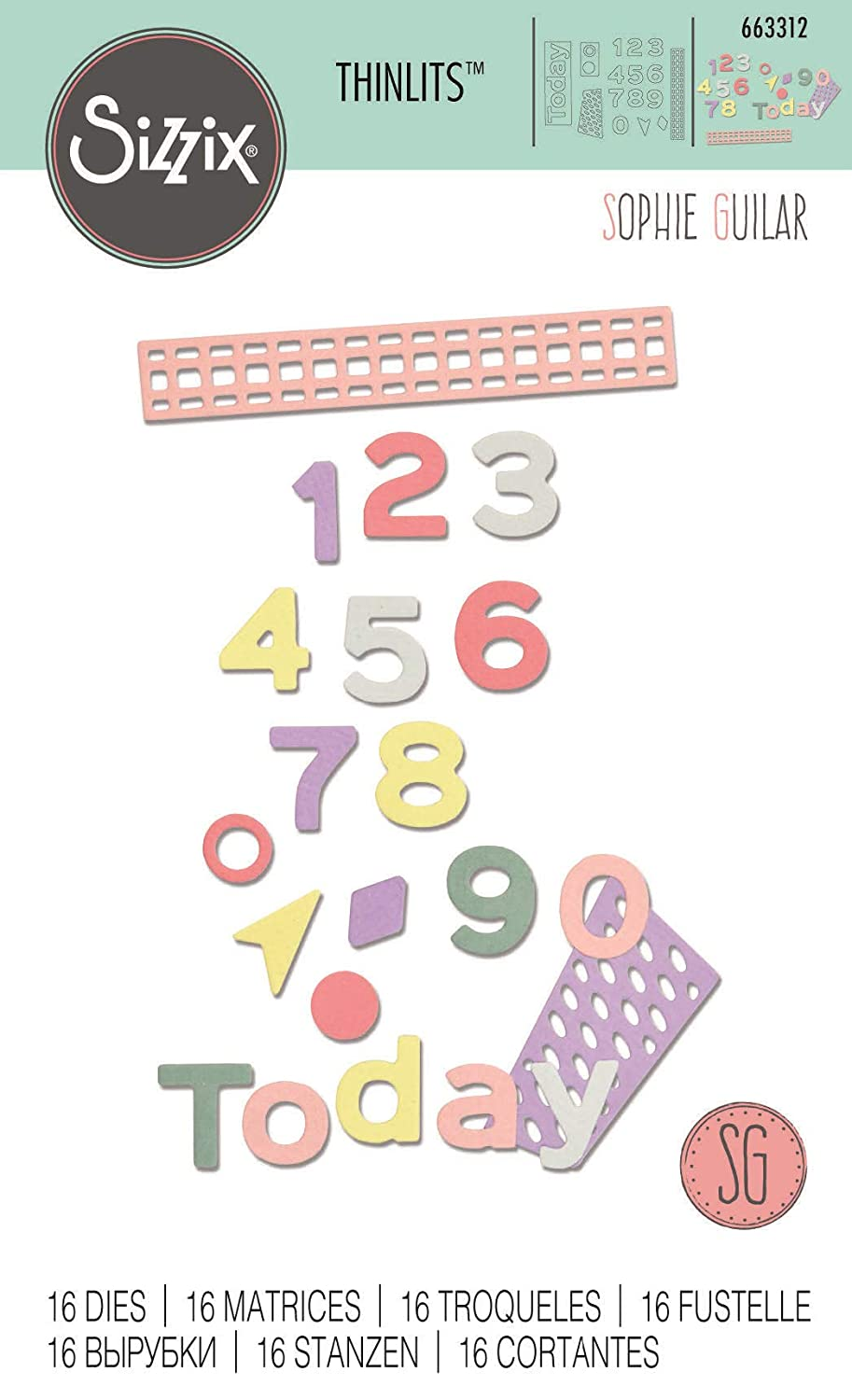 Sizzix 663312 Pop Art Numbers Dies One Size Multicolor